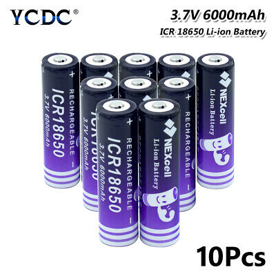 Icr 18650 Battery Rechargeable 3.7V 6000Mah High Capacity For Flashlight 10Pcs