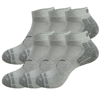 (6 Pairs) Puma Low Cut Men's Quarter Socks Stay-Up Cuff and Heel Cushioned