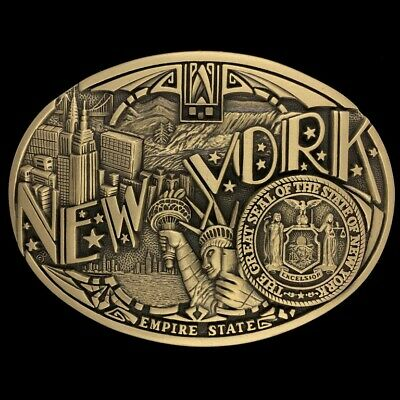 Vintage New York State Seal NYC NY Cowboy Western Brass 1980s Belt Buckle