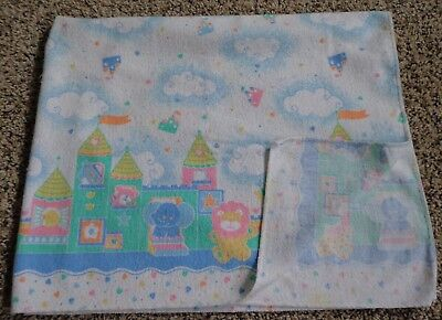 Vintage Riegel Teddy Beddy Bear Friends Blanket Castle Pastel Lion RARE USA Made