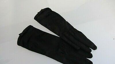 vintage black sati wrist length gloves tiny bow made personality