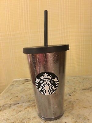 New Starbucks 2017 Gray Silver Glitter Acrylic Cold Cup Travel Tumbler Mug 16oz