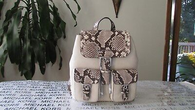 23cb7d58144770 MICHAEL KORS SUSIE Small Natural Leather Snake Skin Backpack Handbag ...