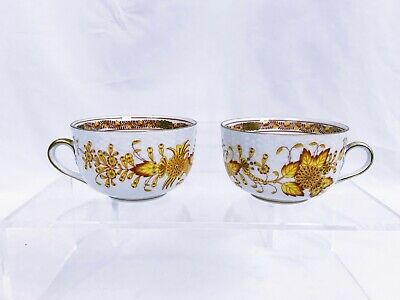 2 HEREND INDIAN Basket Yellow Flat Cups 2 RARE