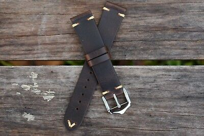 18mm Genuine Leather Watch Band Strap Handmade Brown fits Rolex Tudor All Brands