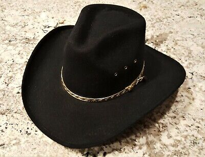 aa39b3c0ae740 Vtg Western Express Inc Classic Cowboy Hat Black W gold Band - Size Small