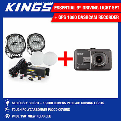"Kings Essential 9"" Driving Light Set Work Spot + GPS 1080 Dashcam Recorder Drive"