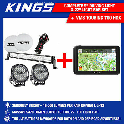 "Kings 9"" Driving Lights Work Spot Round& 22"" Light Bar+Car Dashcam Recorder Kit"