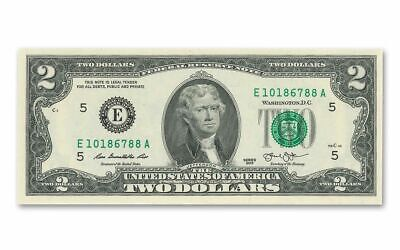 Uncirculated $2 Two Dollar bill note BEP Lucky USD Fancy With FREE clear case