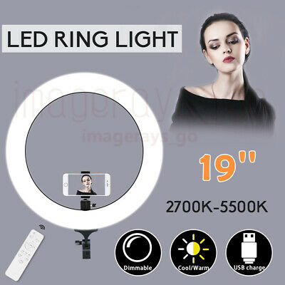 """19""""5500K Dimmable Diva LED Ring Light Diffuser Stand Mirror Make Up Studio Video"""