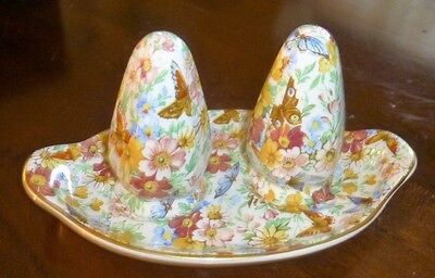 Chintz WADE England Salt and Pepper with tray