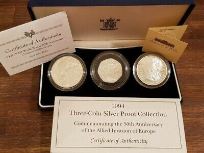 1994 - THREE SILVER COIN PROOF COLLECTION - WWII 50th Anniversary Commemorative
