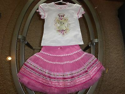 *Mim-Pi* 104 cm 4 yrs pink white silver gems ribbon floral 2pc outfit worn once