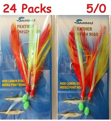 15 Packs size 4/0 Rock Cod Rigs 2 Hooks Red/Yellow Feather Rockfish baits lures