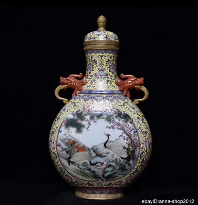 48cm Collect China Enamel Porcelain Pottery Handmade Animal Vase Bottle AXZS