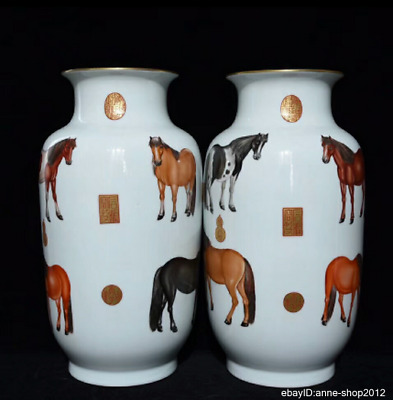 42cm Collect China Enamel Porcelain Pottery Handmade Animal Vase Bottle AXZS
