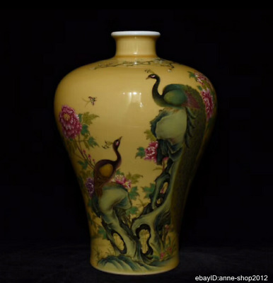 28cm Collect China Enamel Porcelain Pottery Handmade Flower bird Vase AXZS