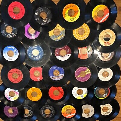 """Lot of 50 45 RPM 7"""" Vinyl Records, For Crafts, Wall Art & Parties"""