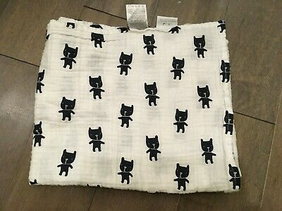 aden anais muslin swaddle black and white frenchie frenchi bulldog RARE