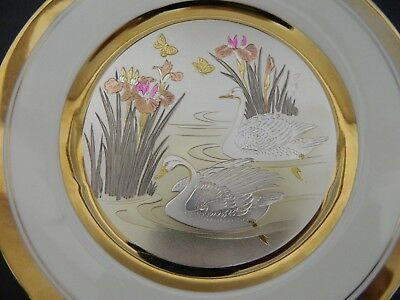 The Art of Chokin Swan Plate 24k Gold and Silver Pond Cat Tail Butterflies Iris
