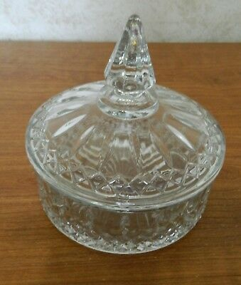 Indiana Glass Princess Diamond Pattern Clear Candy Box Candy Dish with Lid