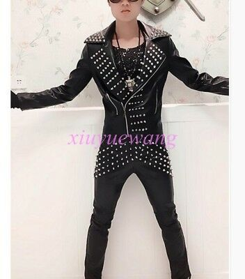 Mens Punk Rock PU Leather Motorcycle Coats DJ Band Costume Suit Jackets or Pants