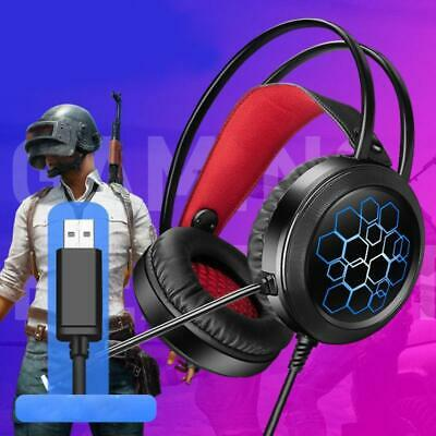 7.1 Surround Stereo USB Gaming Headset with Mic LED Light For Computer PC Laptop