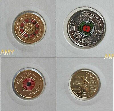 $2 coins - 2019 100 Years of Repatriation - 2018 Red Poppy - Invictus - NZ 50c