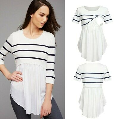 Women Pregnant Casual Nursing Baby Maternity Short Sleeved Striped Blouse Clothe