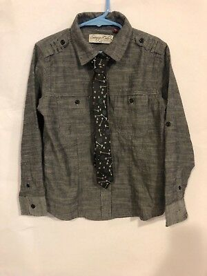 Little boys gray Sovereign Code button down shirt with tie size 5