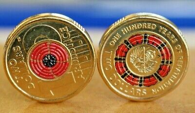 $2 coins - 2019 100 Years of Repatriation - 2018 Remembrance day red poppy