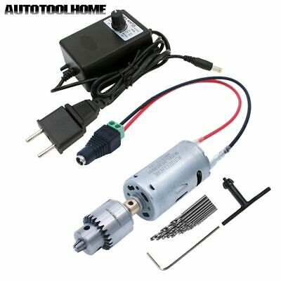 12V DC Motor Drill Set Mini Electric Tool for DIY Woodworking Soft Metal Hole