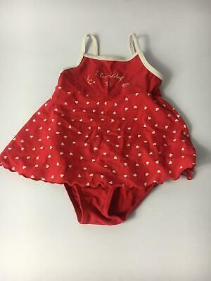 Girls Next Red And White Hearts Swimming Costume Age 12-18 Months Swimsuit