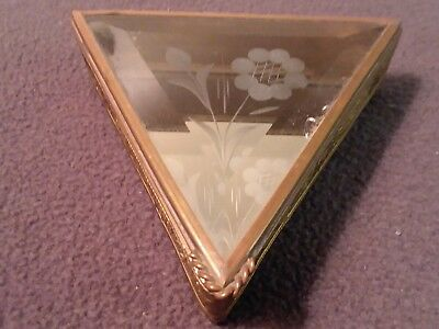 Vintage Via Vermont Triangle Brass/ Etched Beveled Glass With Mirrored Jewelry B