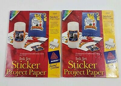 2 AVERY STICKER Project Paper 10 Unprinted Full Sheet 8-1/2
