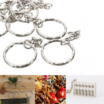 10PC//Lot Keyring Blanks Silver Tone Key Chains Findings Split Rings 4 Link Chain