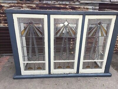 Art Deco Style 4 Panel Leadlight Casement Bay Window 1290h X 1980w X 530d