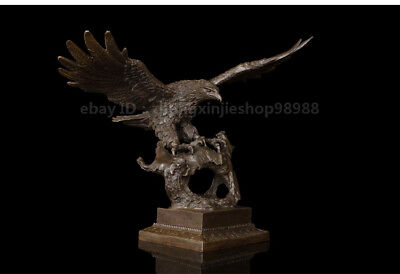 Home Art Deco Sculpture Pure Bronze Flying eagle wings fly Statue
