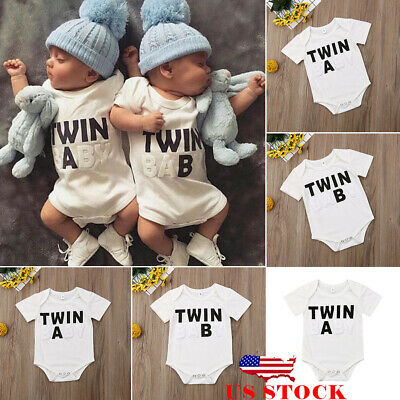 c96cc9b5d16c US Twins Baby Boys Girls Funny Printted Clothes Romper Bodysuit Matching  Outfits