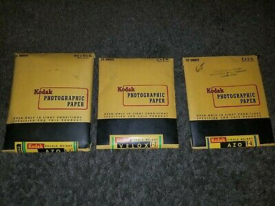 3 Unopened Packs Vintage Kodak Azo F4, E2 AND VELOX F2 PHOTOGRAPHIC 1950's