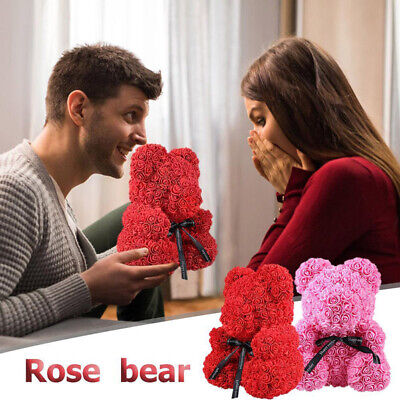 Love Teddy Bear Rose Box Foam Flower Valentine's Day Gift Wedding Birthday 25cm