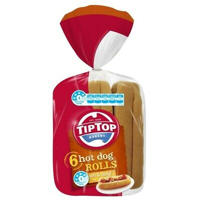 Tip Top White Bread Hot Dog Rolls 6 pack