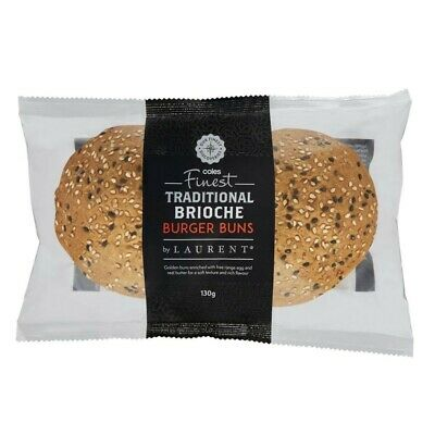 Coles Finest By Laurent Traditional Brioche Burger Buns 2 pack