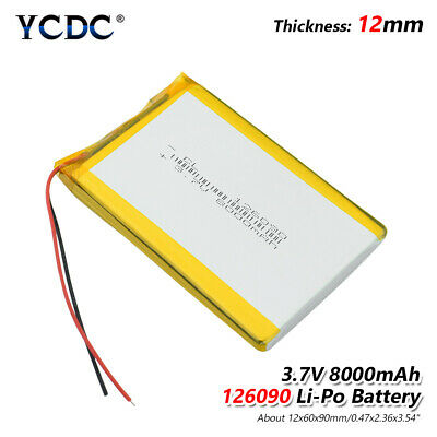 126090 3.7v 8000mah li-ion battery rechargeable for tablet pad dvd gps mid B0DC