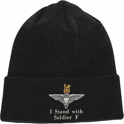 I Stand With Soldier F Embroidered Beanie, Parachute Paratrooper Solidarity Hat
