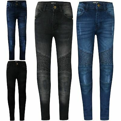 Kids Boys Stretchy Jeans Designer Ripped Skinny Denim Pants Trousers 5-13 Years