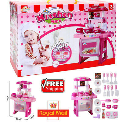 Portable KID CHILDRENS ROLE PLAY KITCHEN COOKING PRETEND COOKER CHEF PLAYSET TOY