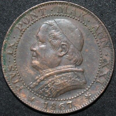 1867 | Papal States 1 Soldo | Copper | Coins | KM Coins