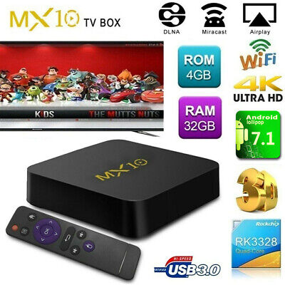 MX10 RK3328 4G+32G Quad Core WiFi Set-Top TV Box Media Player HDMI Android 7.1