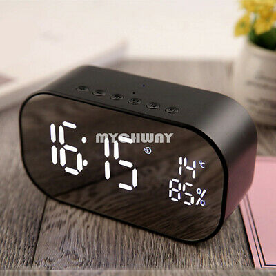Wireless Bluetooth Double Alarm Clock Thermometer Subwoofer Stereo Loudspeaker